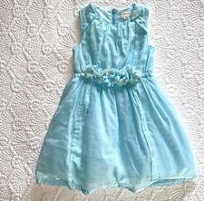 J. Crew Crewcuts 3T Pale Blue Sleeveless Dress w/ Tulle Flowers and Tulle Lining