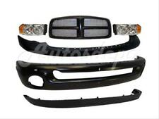 FOR 02-05 DODGE PICKUP RAM FRONT STEEL BUMPER CAP AIR DAM GRILLE BLK HEADLIGHT