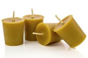 4 Handmade 100% Pure Beeswax Candle Votives with Natural Scent and 15hr Burn Tim