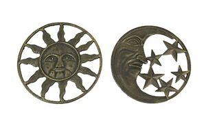 Set of 2 Antique Bronze Cast Iron Sun And Moon Wall Hanging Art Star Decor