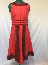 LIKE NEW  MoSoon linen and silk, red and black size UK 10 dress