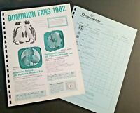 Vintage DOMINION FANS 1962 Pages from Manar Sales Catalog