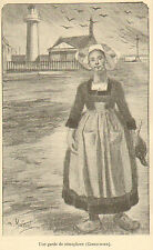 CONCARNEAU GARDIENNE SEMAPHORE PHARE DESSIN LOUIS MALTESTE GRAVURE IMAGE 1900