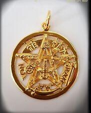 Tetragrammaton plata baño oro 24k Talisman pentagrama esoterico, pendant silver
