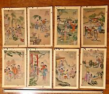 Antique 8 Chinese Paintings Of Palace Living w/artist seal On Silk And Paper