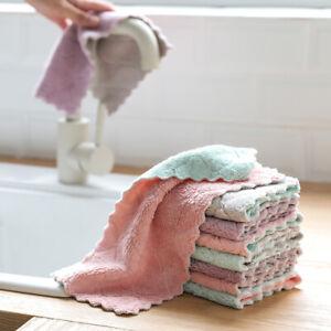 1Pcs Soft Microfiber Tableware Super Absorbent Dishcloth Cleaning Dish Cloth nEW