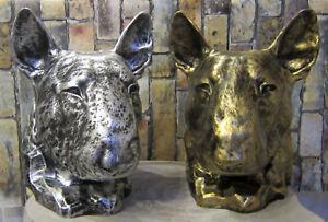 Büste Bullterrier Bully 37cm Kopf Figur Hund Deko Hundekopf Bull Terrier silber