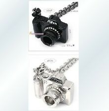 Fashion Women Girl Crystals Rhinestone Black Camera Sweater Pendant Necklace @