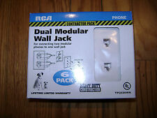 *New* 6 Pack Rca Dual Modular Wall Plate White Phone Jack Rj11 White