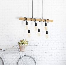 EGLO Ceiling Pendant 6 Light Black/Wood 95499 NEW (G)