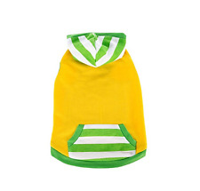 New Top Paw Stripe Hoodie Dress for Dogs Size Small Green & Yellow