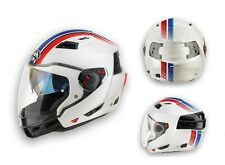 CASCO MOTO MODULARE CROSSOVER AIROH EXECUTIVE STRIPES WHITE GLOSS TG XL