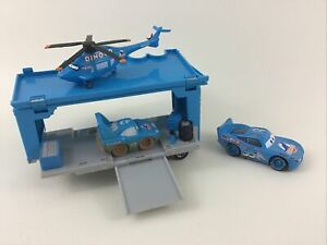 Disney Cars Dinoco 4pc Lot The King Hauler Trailer Helicopter McQueen Toy Pixar