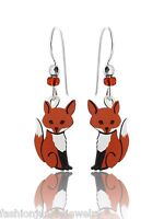 Fox Earrings - 925 Sterling Silver French Ear Wires NEW Dangle Hand Painted