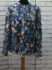 M&S Silk Mix Blue Floral Pattern Womens Long Sleeve Top Size UK 14