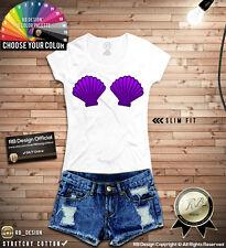 Little Mermaid Seashells Women's T-shirt Ladies Shell Mermaid Shells Top WD142