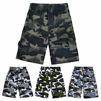 Boys Shorts Camouflage Army Print Cargo Combat Shorts Kids New Ages 3 - 14 Years