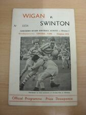 09/09/1963 Rugby League Programme: Wigan v Swinton  (folded). Thanks for taking