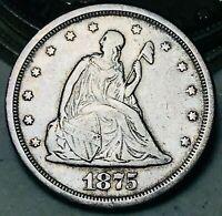 1875 S Twenty Cent Piece 20C Higher Grade Good Date RARE Silver US Coin CC5893
