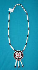Beaded Rosette Necklace w/ Bone Hairpipe Beads Native American made Regalia #06