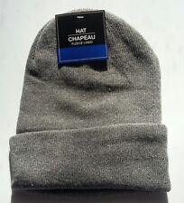 GRAY FLEECE LINED Mens Womens KNIT CUFF Beanie Hat Watch Cap Warm Winter NWT