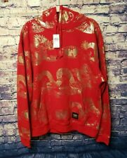 Wu Wear Red/Gold Foil LARGE Dragon Hoodie (WW8384)~NWT~RETAIL $75~US SELLER