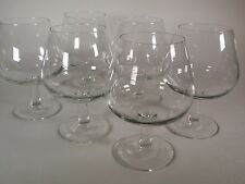 Set 6 Clear Glass Brandy Sniffers Made in France Classic Stemmed Goblet Barware