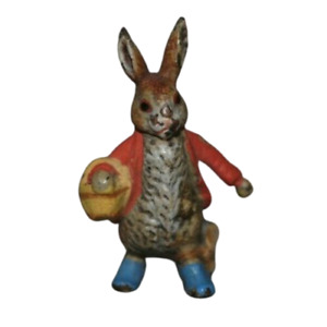 Miniature Vienna Bronze Cold Painted Beatrix Potter Rabbit Yellow Basket