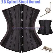 Black 28 steel bones boned Waist Training Underbust lace up corset Top Shaper