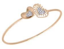 14K Rose Gold Real Diamond Double Heart Ladies Flex Bangle 5/11 CT