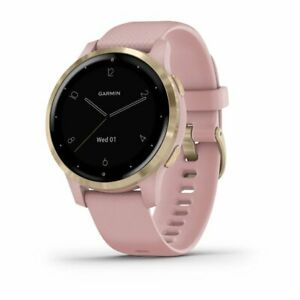 Garmin Vivoactive 4S Light Gold Stainless Steel Bezel with & Silicone Band, Pink