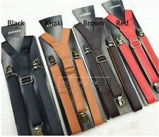 AU Seller 2.5cm PU Teenager Adult Adjustable Suspender Clip Unisex Braces Brace