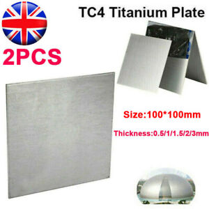 2PCS Titanium Ti Sheet Plate Square Board Thick 0.5-10mm ASTM Grade 5 100*100mm