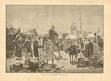 Cairo, Egypt, Street Market, Camel, Tents, Vintage 1892 German Antique Art Print