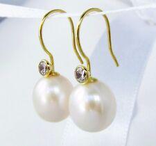 B-Ware Perlen Ohrringe 333/8k Gold Süßwasser Zuchtperlen Zirkonia Ohrhänger