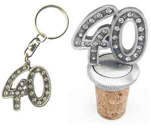 Gift Set 40th Birthday Diamontes Hand Crafted Pewter Bottle Stopper And key ring