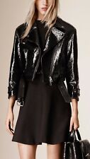 NWT BURBERRY $3995 WOMENS LEATHER CROPPED BIKER JACKET COAT US 2 EU 36 ITALY