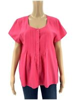 Eileen Fisher Women's Blouse Size L Pink Cotton Smocked Shirt Top Button UP T1
