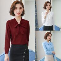 Women V Neck Long Sleeve Bows Tops Slim Business Office Shirt OL Career Blouse