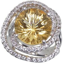 Citrine 7.30 carat White Topaz Gemstone Sterling Silver Ring size L