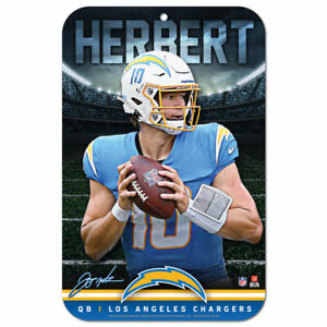 """JUSTIN HERBERT LOS ANGELES CHARGERS 11""""X17"""" PLASTIC SIGN DURABLE POSTER"""