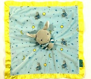 Goodnight Moon Baby Plush Lovey Security Blanket Bunny Plush Blue Satin Edge