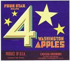 four star, original washington apple crate label, cascoa growers