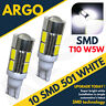 501 10 LED SMD RECUL Ampoules Xénon Blanc T10 W5W 194 COUSSIN LAMPE x 2