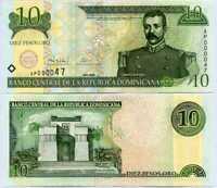 DOMINICAN REPUBLIC 10 PESOS ORO 2000 P 165 AP PREFIX 2 DIGIT LOW SERIAL S/N UNC