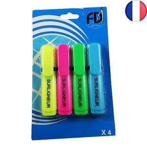 Lot de 4 Surligneurs type Stabilo Multicolores Jaune Rose Vert Bleu Surligneur