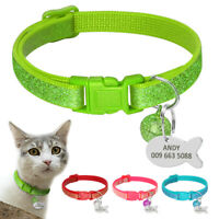 Personalised Sequins Dog Kitten Cat Collar & Tag Engraved for Pet Puppy & Bell