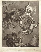 GESU' LIBERA SANTI I PADRI DAL LIMBO  Incisione Originale 1700 Orbetto Jesus