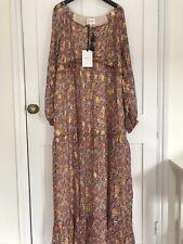 Sézane Annae Silk Maxi Dress Pink & Green Cashmere Print Size EUR 34 UK 6