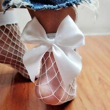 Pretty Women Summer Big Bowknot Sheer White Fishnet Lace Mesh Ankle Short Socks